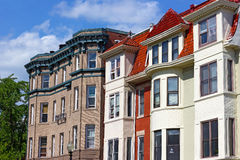 Modern row houses of historic surburb in Washington DC. Royalty Free Stock Photos