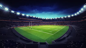 Modern rugby stadium with fans at corner view Royalty Free Stock Images