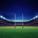 Modern rugby stadium with fans and green grass Stock Photo