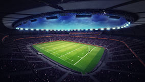 Modern rugby stadium with fans under roof Royalty Free Stock Photos