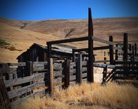 Modern Ruins Of A Old Corral in Oregon. Here are the Ruins of a old corral in the Columbia River George in Oregon Stock Image
