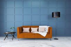 Modern ruminredesign, brun lädersoffa med ljus - den blåa väggen, 3d framför Royaltyfria Bilder