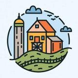 Modern rund logo med lantlig landskap- och lantgårdbyggnad eller ladugård som dras i linjen konststil Rund logotyp med royaltyfri illustrationer