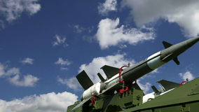 Modern Russian anti-aircraft missiles  against the sky stock video footage
