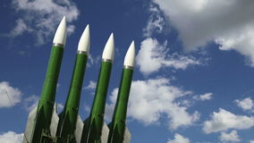 Modern Russian anti-aircraft missiles  against the sky stock footage