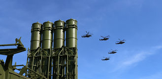 Modern Russian anti-aircraft missiles and military aircrafts Stock Photography
