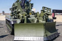 The modern Russian armored combat engineer machine IMR-3M in the process of work. KADAMOVSKIY TRAINING GROUND, ROSTOV REGION, RUSSIA, AUGUST 26, 2018 royalty free stock image