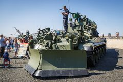 The modern Russian armored combat engineer machine IMR-3M in the process of work. KADAMOVSKIY TRAINING GROUND, ROSTOV REGION, RUSSIA, AUGUST 26, 2018 royalty free stock photography