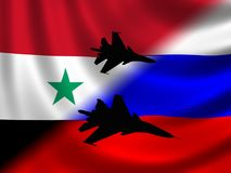 Modern Russian Fighter plane. Computer illustration of Modern Russian fighter bomber aircraft similar to those used in Syrian conflict. Blur style cloud Stock Photo