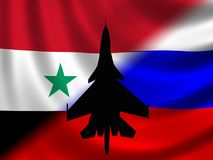 Modern Russian Fighter plane. Computer illustration of Modern Russian fighter bomber aircraft similar to those used in Syrian conflict. Blur style cloud Royalty Free Stock Photos