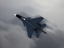 Modern Russian Fighter plane. Computer illustration of Modern Russian fighter bomber aircraft similar to those used in Syrian conflict. Blur style cloud Royalty Free Stock Photography