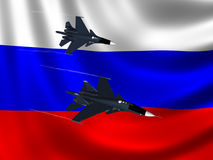 Modern Russian Fighter plane. Computer illustration of 2 modern Russian fighter bomber aircraft similar to those used in Syrian conflict. Russian flag background Stock Photos