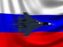 Modern Russian Fighter plane. Computer illustration of Modern Russian fighter bomber aircraft similar to those used in Syrian conflict. Russian flag background Royalty Free Stock Photos