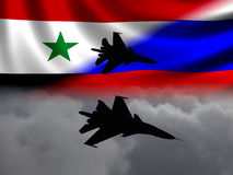 Modern Russian Fighter plane. Computer illustration. Modern Russian fighter bomber aircraft similar to those used in Syrian conflict. Flags and cloud background Stock Image