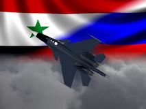Modern Russian Fighter plane. Computer illustration of Modern Russian fighter bomber aircraft similar to those used in Syrian conflict. Flags and cloud Stock Image