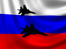 Modern Russian Fighter plane. Computer illustration. Sihlouette of Modern Russian fighter bomber aircraft similar to those used in Syrian conflict. Russian flag Royalty Free Stock Photo
