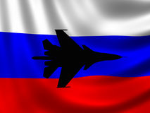 Modern Russian Fighter plane. Computer illustration. Sihlouette of Modern Russian fighter bomber aircraft similar to those used in Syrian conflict. Russian flag Stock Images