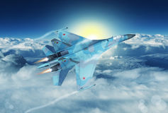 Modern Russian fighter plane. A modern Russian fighter plane streaks through the sky. Computer Illustration Stock Images
