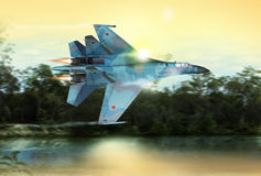Modern Russian fighter plane. A modern Russian fighter plane streaks through the sky. Computer Illustration Royalty Free Stock Photo