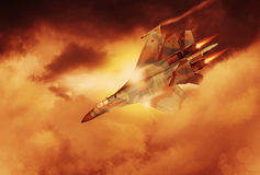 Modern Russian fighter plane. A modern Russian fighter plane streaks through the sky. Computer Illustration Stock Photo