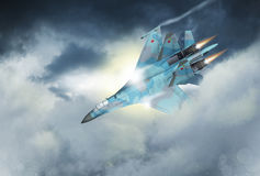 Modern Russian fighter plane. A modern Russian fighter plane streaks through the sky. Computer Illustration Royalty Free Stock Images