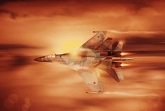 Modern Russian fighter plane. A modern Russian fighter plane streaks through the sky. Computer Illustration Stock Image