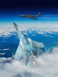 Modern Russian fighter plane. A modern Russian fighter plane streaks through the sky to intercept an enemy bomber.  Computer Illustration Royalty Free Stock Photos