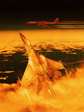 Modern Russian fighter plane. A modern Russian fighter plane streaks through the sky to intercept an enemy bomber.  Computer Illustration Stock Photos