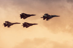 Modern Russian strike fighters at MAKS-2017 Stock Image