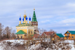 Modern Russian village. Spring landscape Stock Photography