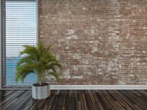Modern rustic face brick interior decor Royalty Free Stock Photo