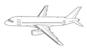 Modern rysstrafikflygplan också vektor för coreldrawillustration Royaltyfri Bild