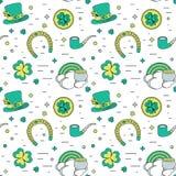 Modern sömlös bakgrund för färg för den Patricks dagen De traditionella attributen vektor illustrationer