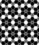 Modern sömlös blom- geometrimodell för vektor, svartvitt abstrakt begrepp Royaltyfri Bild