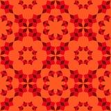 Modern sömlös modell av geometriska objekt för röda skuggor på orange bakgrund Royaltyfria Bilder