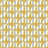Modern sömlös modell med det borsteband och korset Svärta guld- metallisk färg på vit bakgrund blänka guld- Arkivbilder