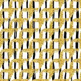 Modern sömlös modell med det borsteband och korset Svärta guld- metallisk färg på vit bakgrund blänka guld- Royaltyfri Bild