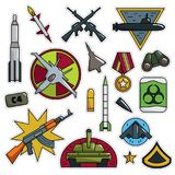 Modern 80s-90s Army Look Fashion Patch Cartoon Illustration. Modern 80s-90s Army Look Fashion Cartoon Illustration Set Suitable for Badges, Pins, Sticker royalty free illustration