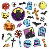 Modern 80s-90s Halloween Fashion Patch Cartoon Illustration Set. Modern 80s-90s Halloween Fashion Cartoon Illustration Set Suitable for Badges, Pins, Sticker royalty free illustration