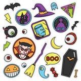 Modern 80s-90s Halloween Fashion Patch Cartoon Illustration Set. Modern 80s-90s Halloween Fashion Cartoon Illustration Set Suitable for Badges, Pins, Sticker stock illustration