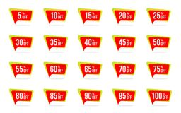 Modern Sale and Discount Price Tag Set Vector Promotion Badges Label Designs Template. Modern Sale and Discount Price Tag Set 5, 10, 15, 20, 25, 30, 35, 40, 45 vector illustration