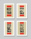 Modern sale posters. Discount card design. Illustration on transparent background. Royalty Free Stock Photography