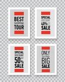 Modern sale posters. Discount card design. Illustration on transparent background. Stock Photos