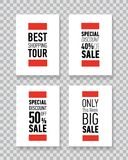 Modern sale posters. Discount card design. Illustration on transparent background. Royalty Free Stock Photos