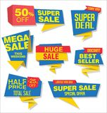 Modern sale stickers and tags blue collection Royalty Free Stock Image