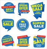 Modern sale stickers and tags blue collection Royalty Free Stock Photos