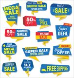 Modern sale stickers and tags blue collection Stock Images