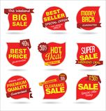 Modern sale stickers and tags red illustration Royalty Free Stock Photos