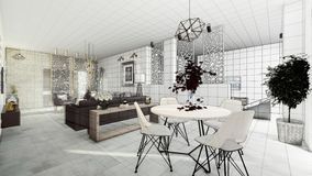 Modern salong för lägenhet stock illustrationer