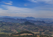 Modern San Marino Suburban districts. And Italian hills view from above. Horizontal shot Stock Images